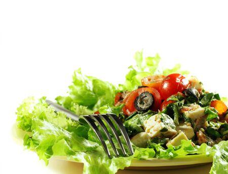 Healthy Vegetable Salad Served on Fresh Salad Leaves. Selective Focus  photo