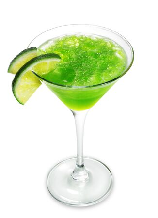 cocktail mixer: Alcoholic Cocktail made of Liqueur Lychee, Tequila and Lime Juice. Isolated on White Background