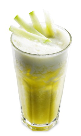 Yellow Healthy Cocktail from Pineapple, Lime and Apple Served with Sliced Apple. Isolated on White Background photo