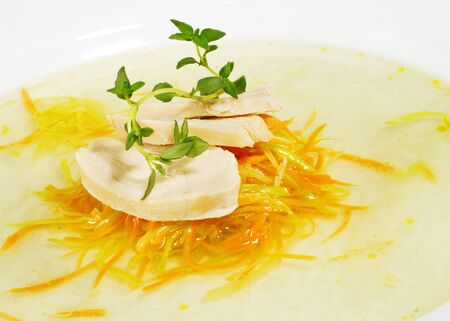 julienne: Chicken Consomme with Julienne Vegetable Served with Green