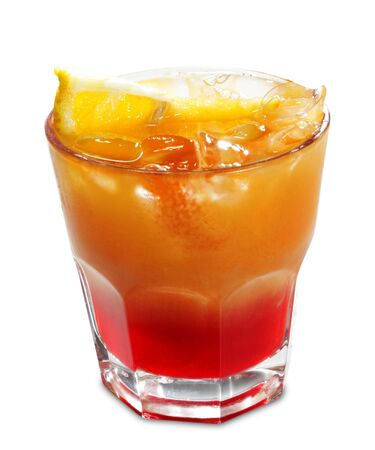 cocktail mixer: Alcoholic Cocktail made of Campari Bitter and Orange Juice. Isolated on White Background