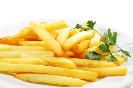 potato fries: Side Dish French Fries Served with Parsley. Isolated on White Background Stock Photo