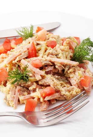Salad Comprises Chopped Smoked Chicken and Champignon Dressed with Dill and Tomatoes. Isolated on White Background Stock Photo - 4167021