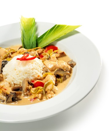 Braised Chicken Slice with Mushrooms and Rice Heap and Spring Onions photo