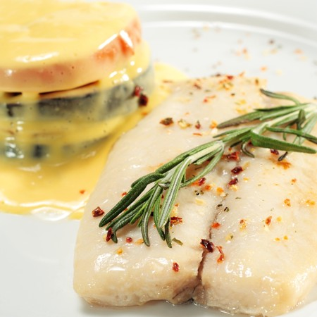 Sole and Vegetable with Yellow Sauce photo