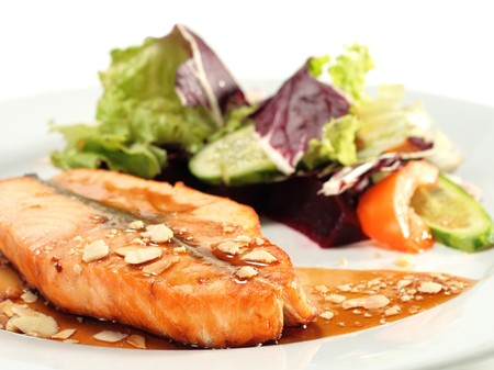 Grilled Salmon with Sauce and Vegetables photo