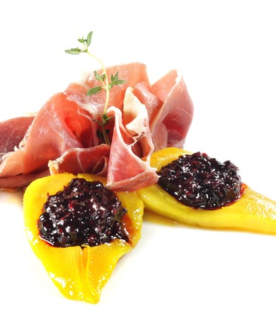 Ham with Pear and Berries photo
