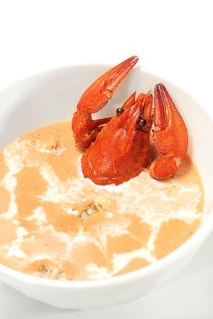 Crawfish Soup Bowl. Isolated on White Background photo