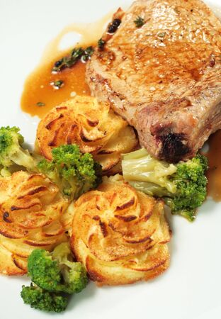 Pork Brisket with Potato and Broccoli photo