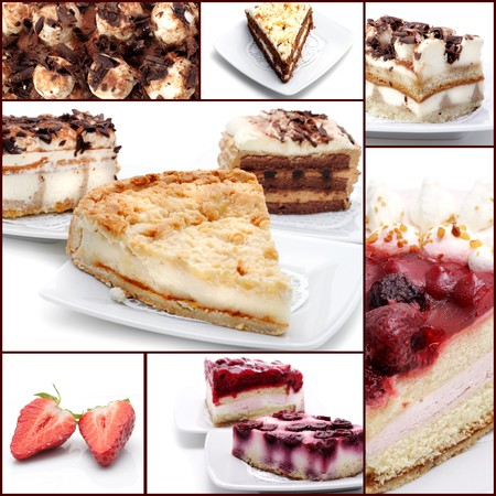 Cakes with Chocolate and Berries. Dessert Collage photo