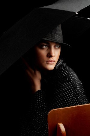 Mysterious Green-Eyes Lady with Umbrella in Black photo