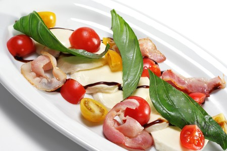 Salad with Cherry Tomato, Buffalo Cheese, Bacon and Vegetable Leaf. Isolated on White Background Stock Photo - 4270681