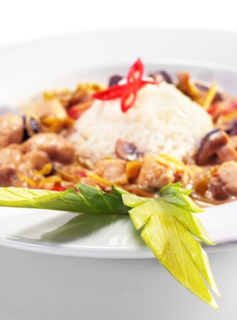 braised mushrooms: Braised Chicken Slice with Mushrooms and Rice Heap and Spring Onions