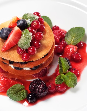 Dessert with Fresh Berries and Mint photo
