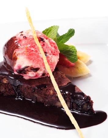 Dark Chocolate Pie with Berries Ice Cream and Fresh Mint and Fruit Stock Photo - 4290150