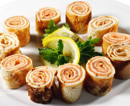 Pancakes with Salmon with Parsley and Lemon photo