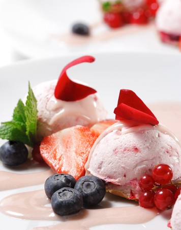 Fruit Mousse with Rose Petal and Fresh Berries Stock Photo - 4399432