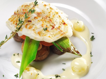 halibut: Halibut on Vegetable with Sauce