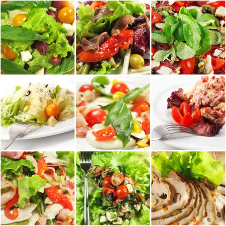 Collage from Photographs of Seafood and Meat Salad with Rich Greens photo