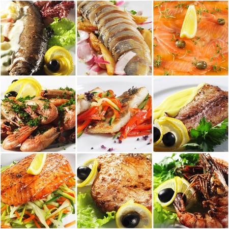 Collage de photographies de fruits de mer Planche