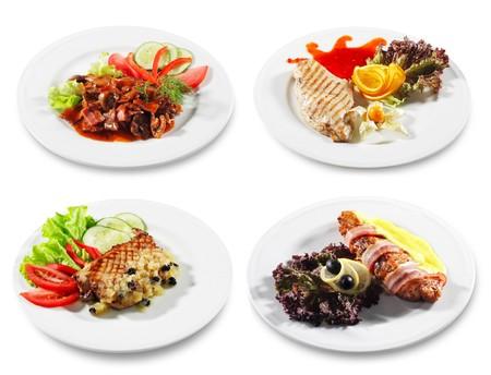 plato de comida: Carne y pescado Plata aisladas sobre fondo blanco