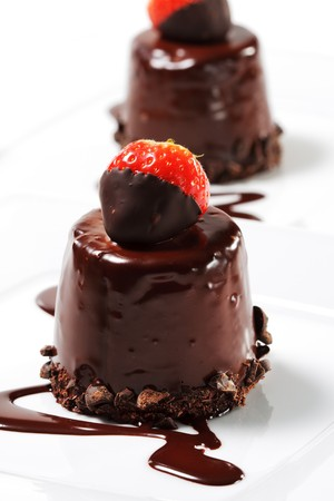 Chocolate Cake with Fresh Strawberry photo