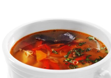 sours: Fish Soup is a Thicks, Spices and Sours Soups. Isolated on White Background