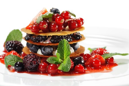 Berries Dessert Isolated on White Background Stock Photo - 4515890