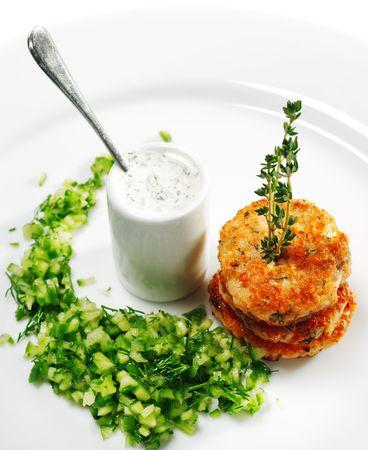 Appetizer - Mini Salmon Steak with Cucumber Fresh photo