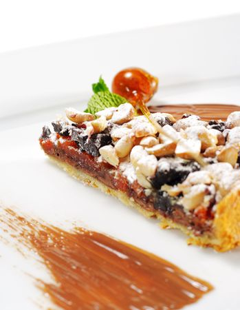 Dessert - Chocolate Shortcake with Dried Fruit and Nuts photo