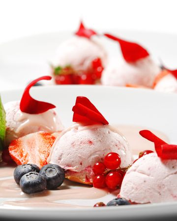 Dessert - Fruit Mousse with Rose Petal and Fresh Berries photo