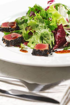 Salad - Tuna Slice with Vegetable Leaf photo