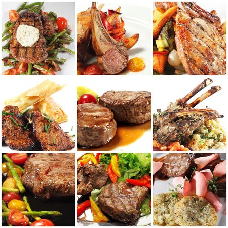 carne asada: Collage de fotograf�as de platos calientes de carne Foto de archivo