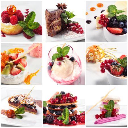 Collage de photographies de Dessert Banque d'images