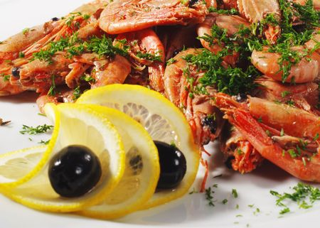 Appetizer - Shrimp Plate with Olives and Lemon photo