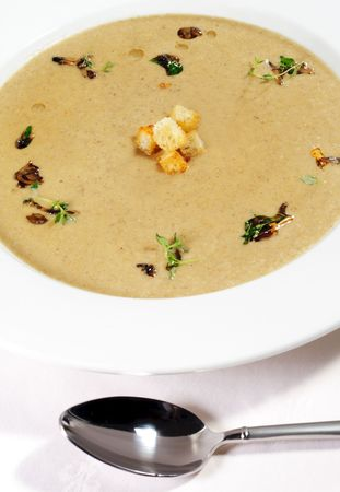 Cream of Mushroom Soup with Dried Crust and Green Herb photo