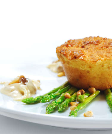 Appetizer - Goats milk Cheese Pate on Fresh Asparagus with Mushrooms photo