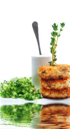 Appetizer - Mini Salmon Steak with Cucumber Fresh photo