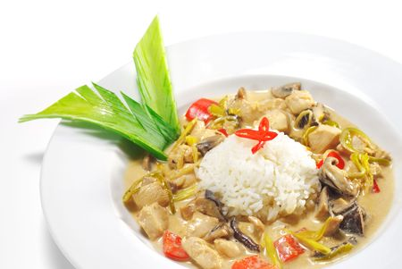 Thai Dishes - WOK Chicken with Mushrooms and Rice photo