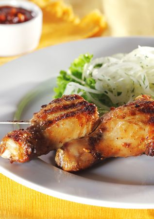 Grilled Chicken Legs on Skewer with Pickled Onions and Salad Leaf photo