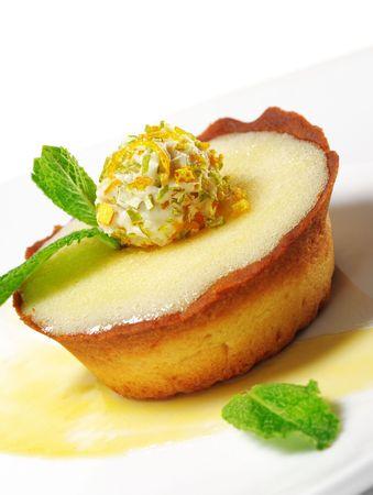 Dessert - Cream Tart with Fresh Mint and Truffle
