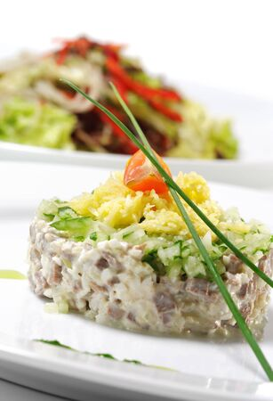 Meat Salad with Vegetable and Cheese photo