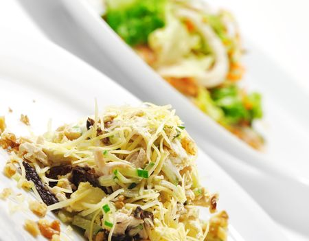 Chicken Salad with Nuts. Isolated over White photo