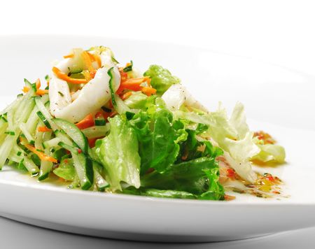 Squid and Fish Salad with Vegetable Stock Photo - 4793514