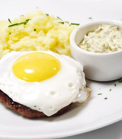 mincing: Beef Steak with Fried Egg and Mashed Potato