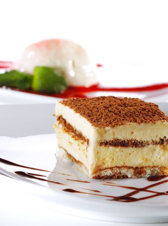 Dessert - Tiramisu Cheesecake with Chocolate Sauce Stock Photo - 4793446