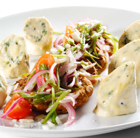 julienne: Chicken Roll with Vegetable Marrow Galette and Julienne Vegetables
