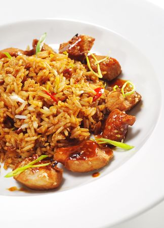 Thai Dishes - Pork with Curry Sauce and Fried Rice photo