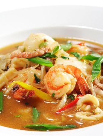 Thai Dishes - Seafood with Lemon Sorgho and Scallop photo