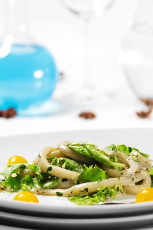 Salad - Seafood with Cherry Tomato and Vegetable Leaf photo